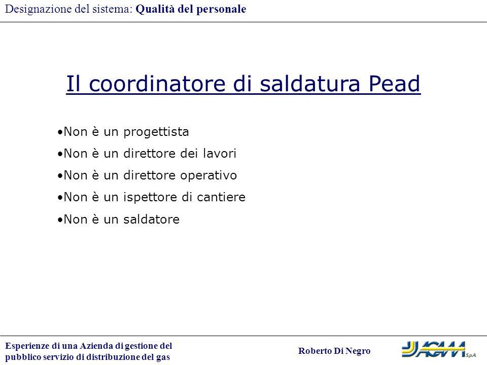 Il coordinatore di saldatura Pead