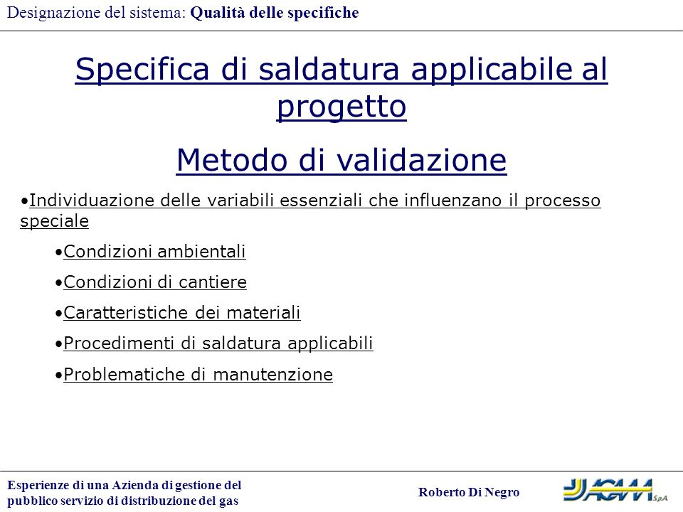 Specifica di saldatura applicabile al progetto