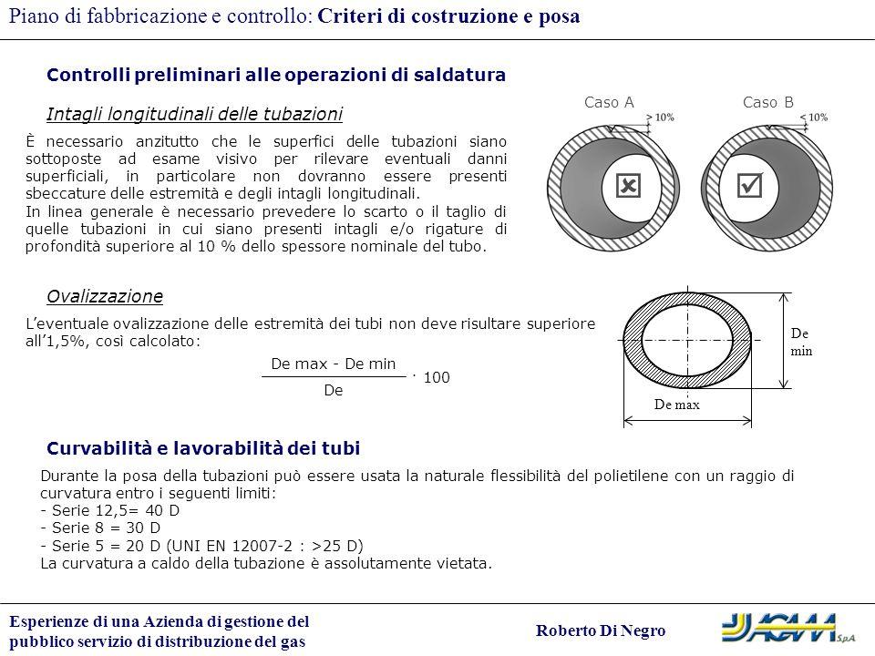   Piano di fabbricazione e controllo: Criteri di costruzione e posa
