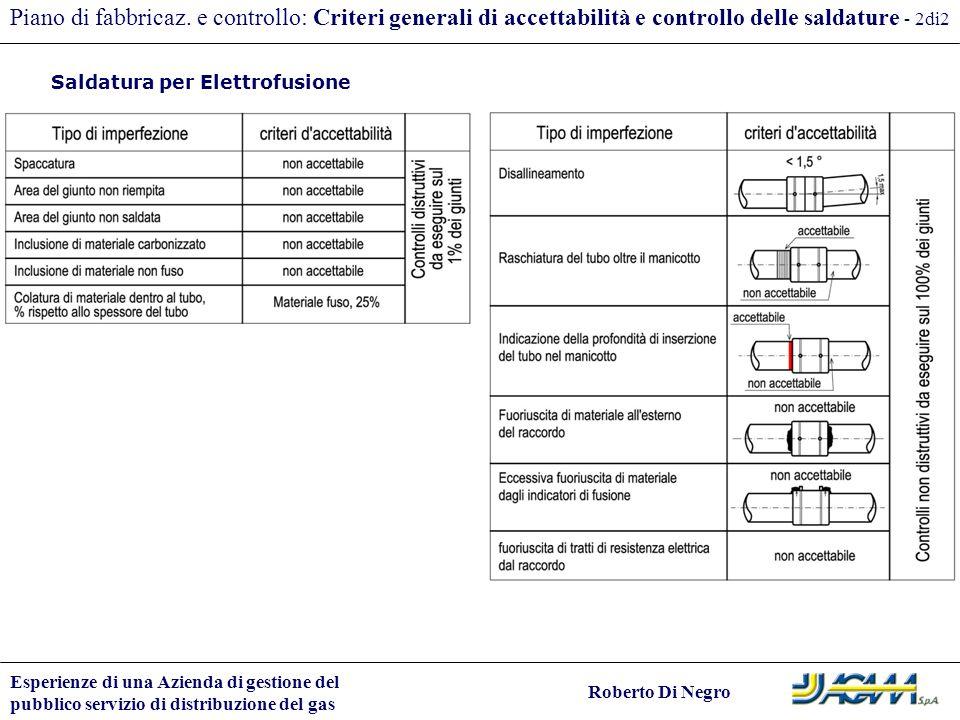 Piano di fabbricaz. e controllo: Criteri generali di accettabilità e controllo delle saldature - 2di2
