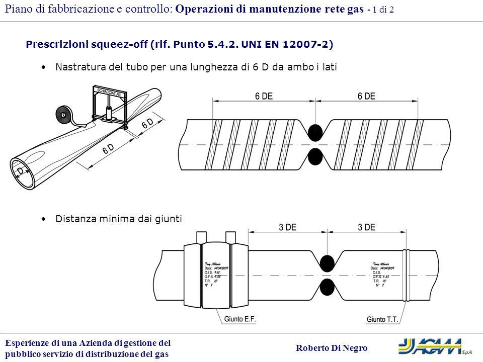 Piano di fabbricazione e controllo: Operazioni di manutenzione rete gas - 1 di 2