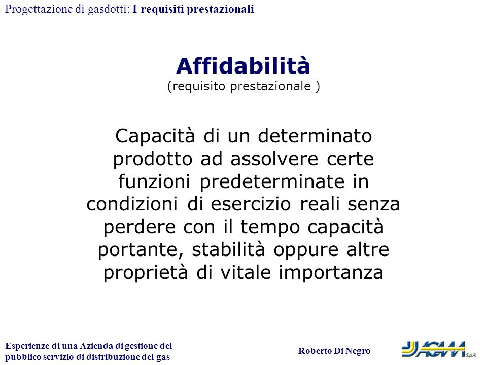 Affidabilità (requisito prestazionale )