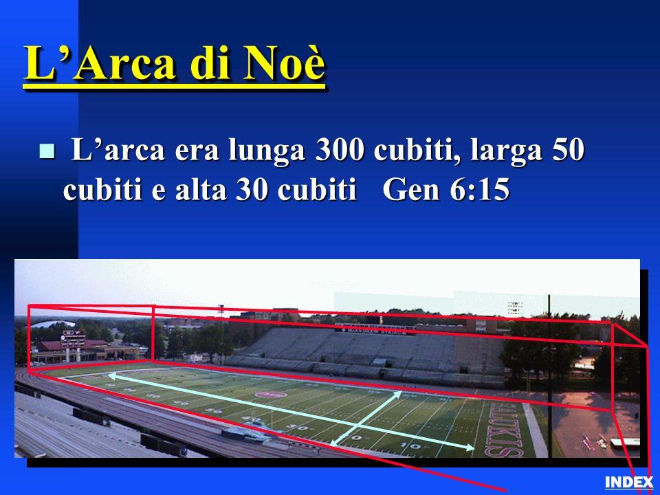 L'Arca di Noè L'arca era lunga 300 cubiti, larga 50 cubiti e alta 30 cubiti Gen 6:15 INDEX