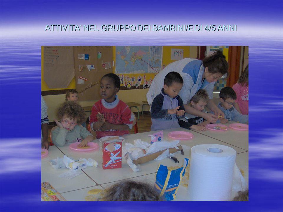 ATTIVITA' NEL GRUPPO DEI BAMBINI/E DI 4/5 ANNI