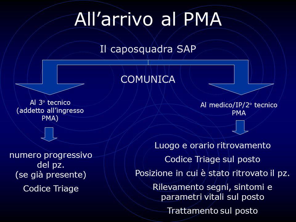 All'arrivo al PMA Il caposquadra SAP COMUNICA