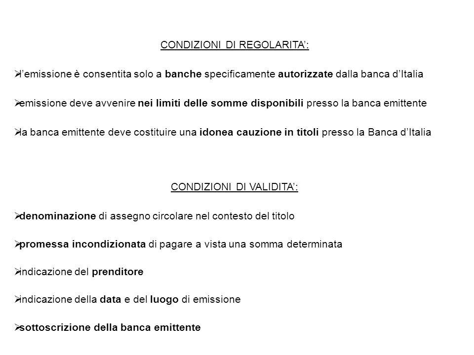 CONDIZIONI DI REGOLARITA':