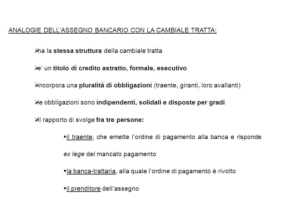 ANALOGIE DELL'ASSEGNO BANCARIO CON LA CAMBIALE TRATTA: