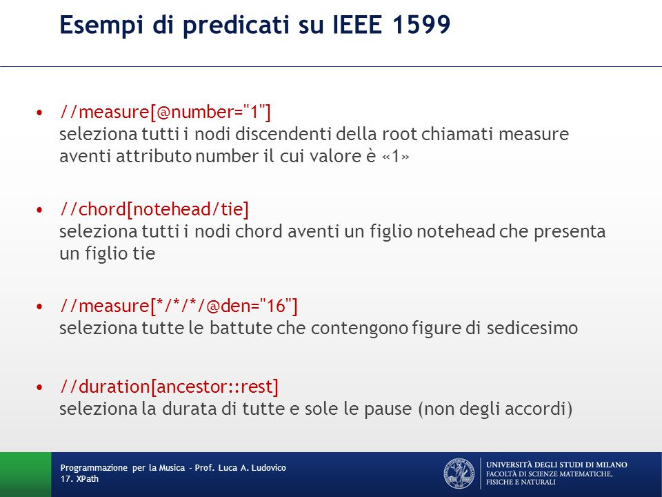 Esempi di predicati su IEEE 1599