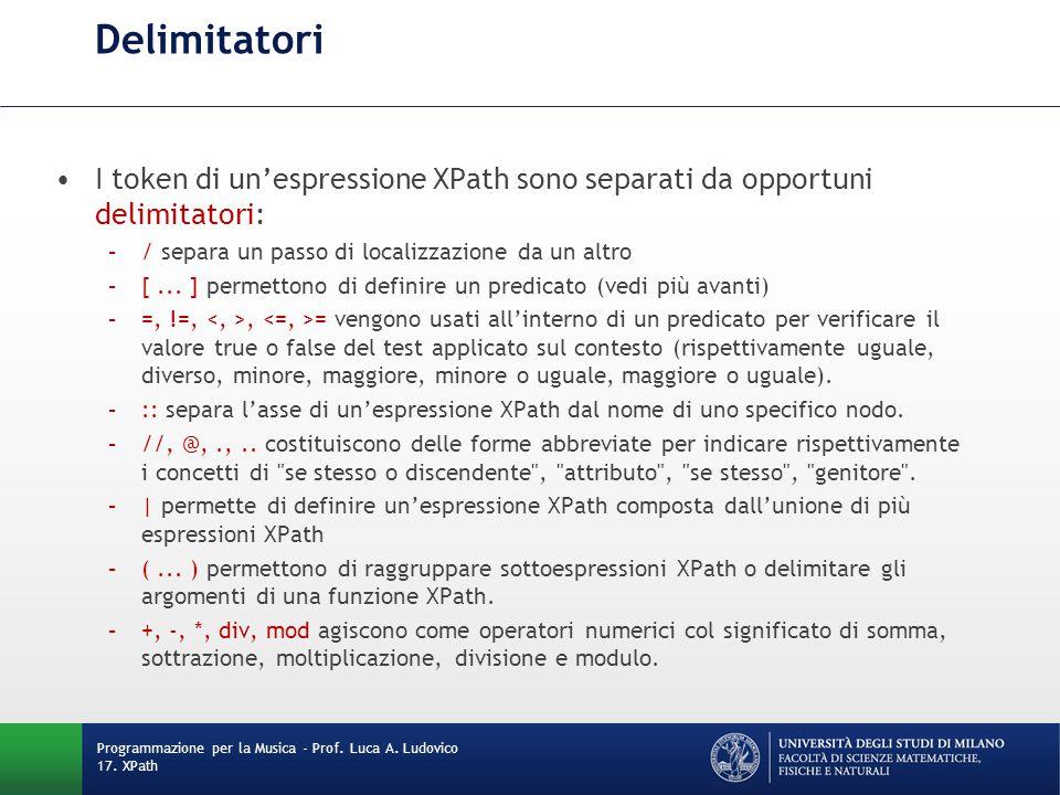 Delimitatori I token di un'espressione XPath sono separati da opportuni delimitatori: / separa un passo di localizzazione da un altro.