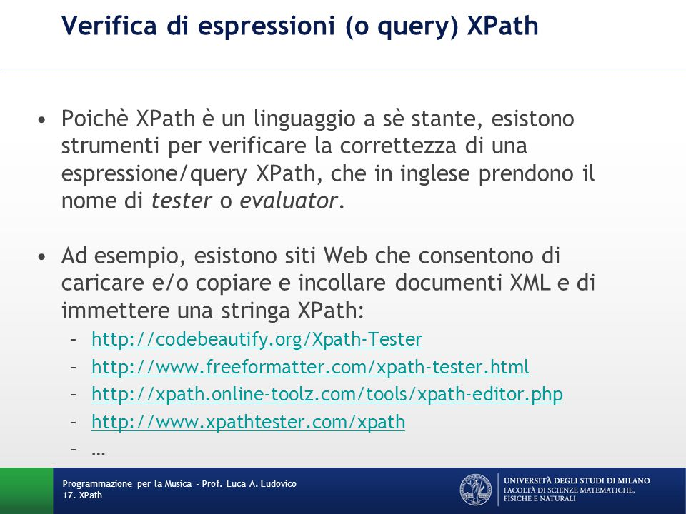 Verifica di espressioni (o query) XPath