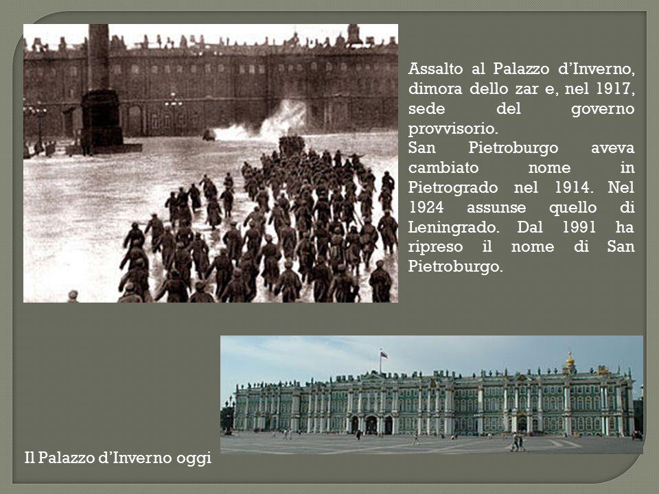 Assalto al Palazzo d'Inverno, dimora dello zar e, nel 1917, sede del governo provvisorio.