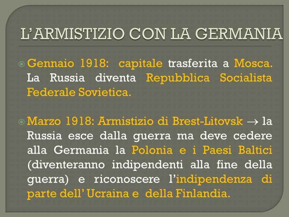 L'ARMISTIZIO CON LA GERMANIA