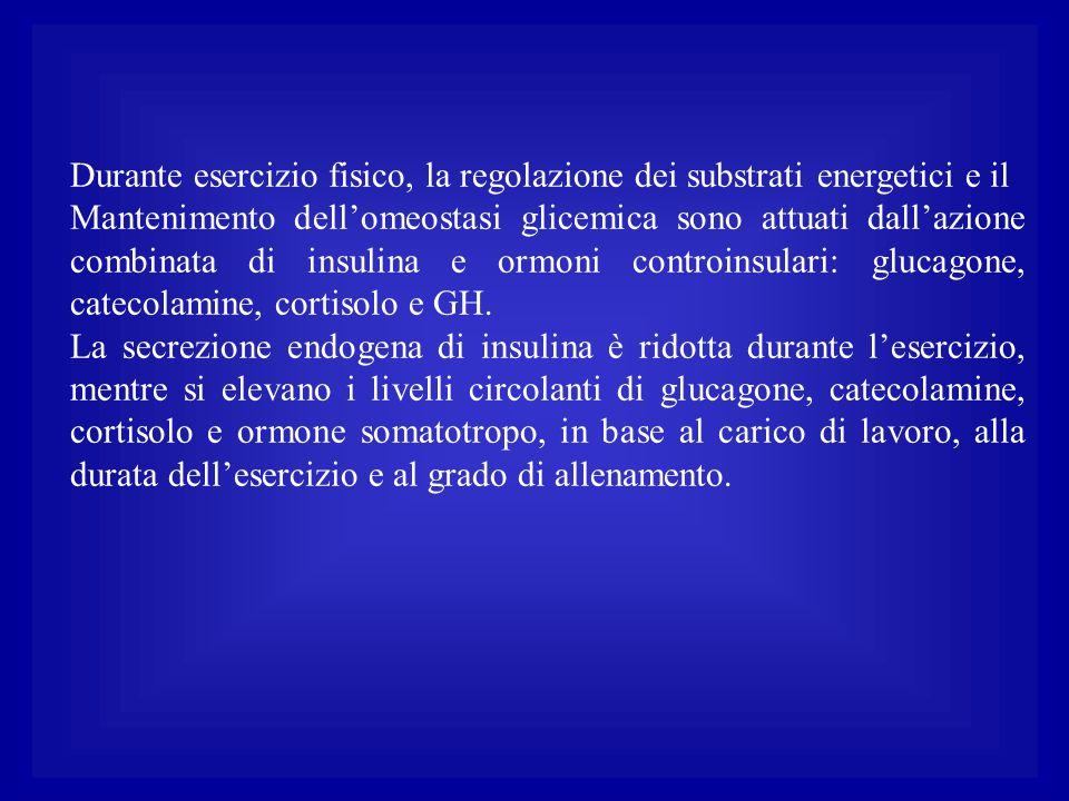 Durante esercizio fisico, la regolazione dei substrati energetici e il