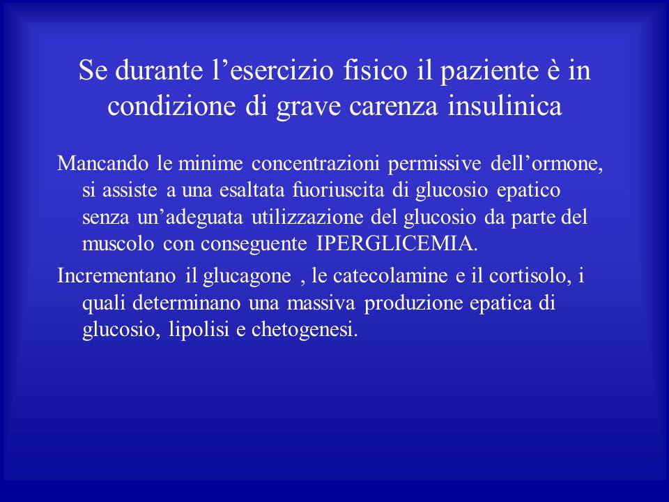 Se durante l'esercizio fisico il paziente è in condizione di grave carenza insulinica
