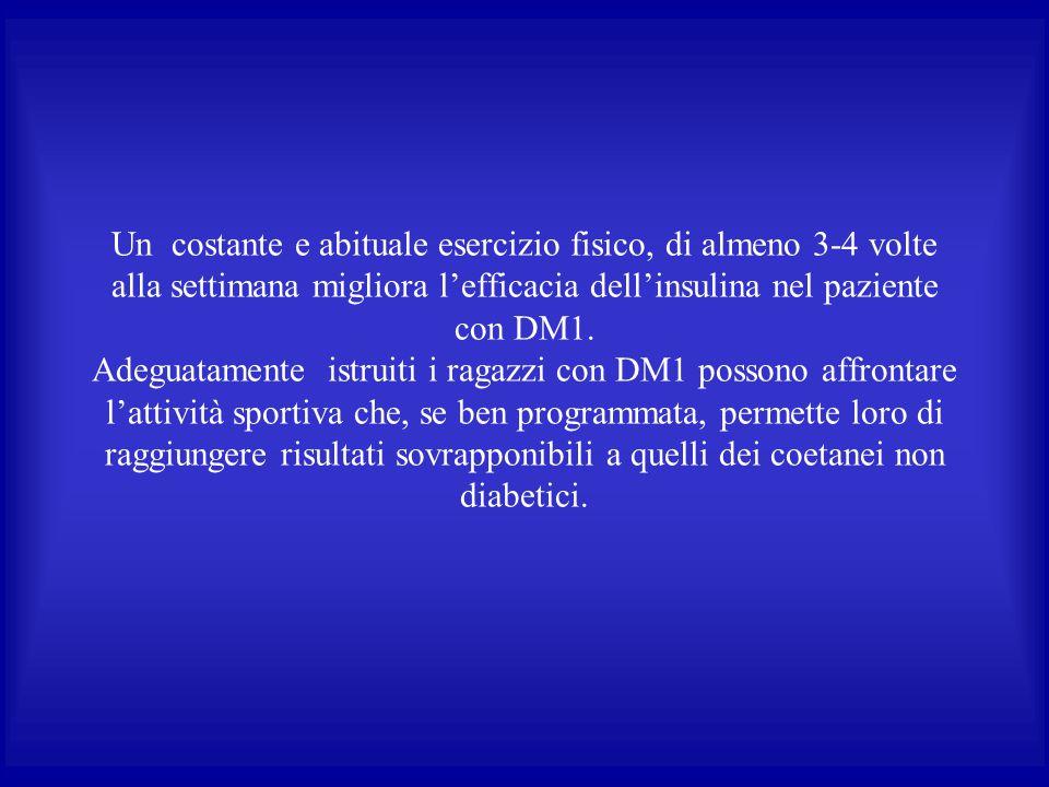 Un costante e abituale esercizio fisico, di almeno 3-4 volte alla settimana migliora l'efficacia dell'insulina nel paziente con DM1.