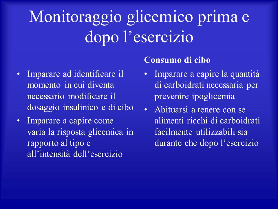 Monitoraggio glicemico prima e dopo l'esercizio