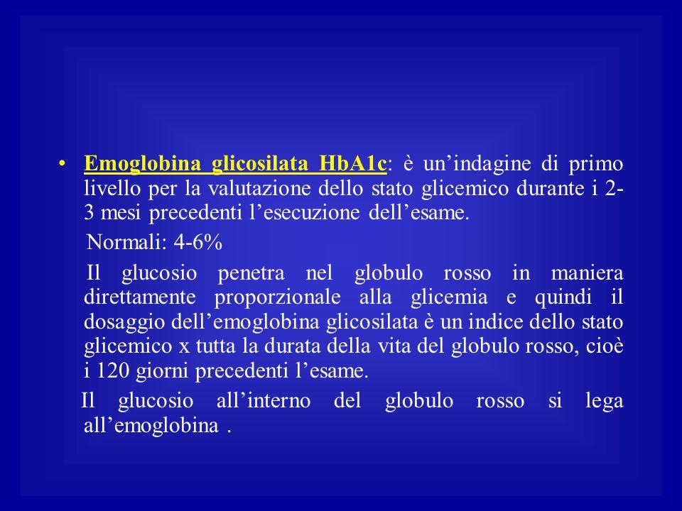 Emoglobina glicosilata HbA1c: è un'indagine di primo livello per la valutazione dello stato glicemico durante i 2-3 mesi precedenti l'esecuzione dell'esame.