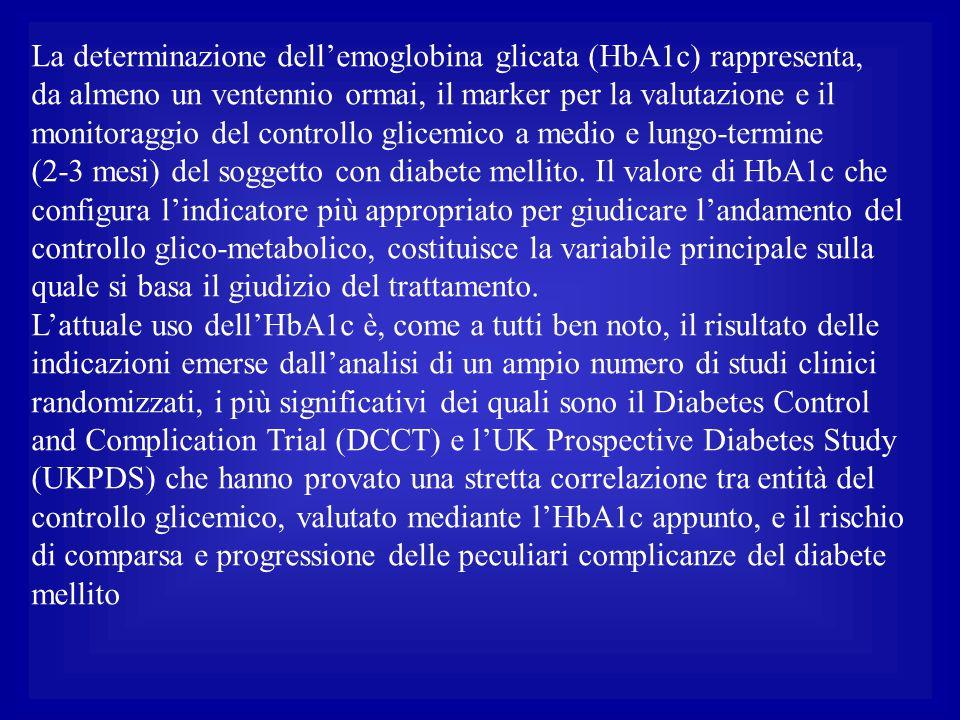 La determinazione dell'emoglobina glicata (HbA1c) rappresenta,