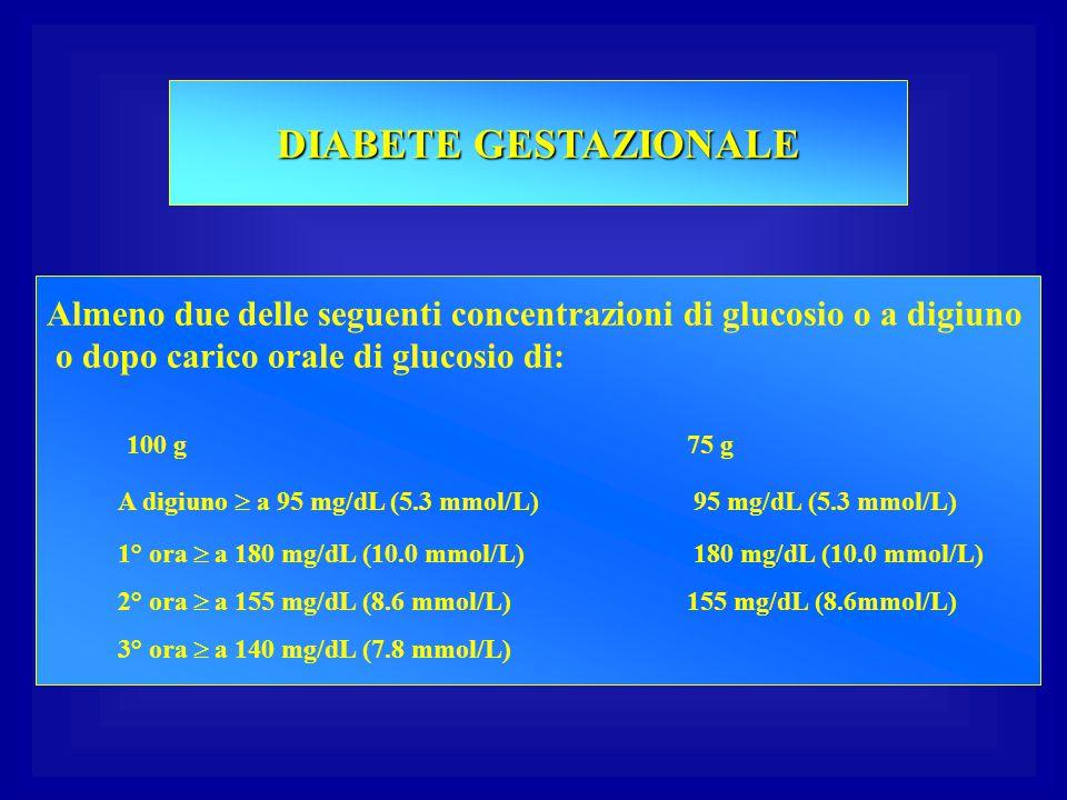 DIABETE GESTAZIONALE Almeno due delle seguenti concentrazioni di glucosio o a digiuno. o dopo carico orale di glucosio di: