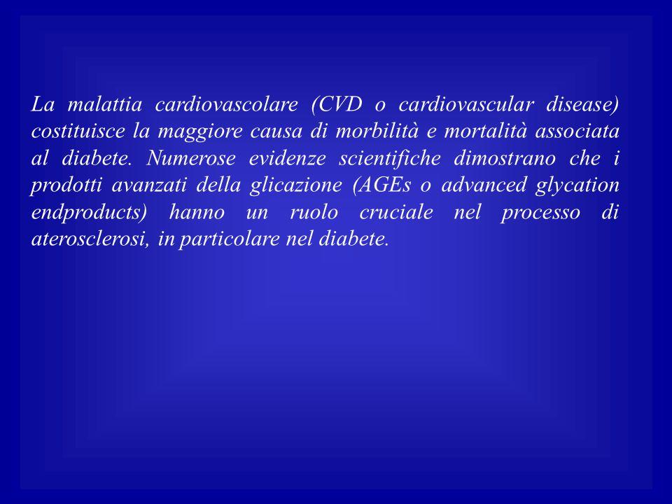 La malattia cardiovascolare (CVD o cardiovascular disease) costituisce la maggiore causa di morbilità e mortalità associata al diabete.