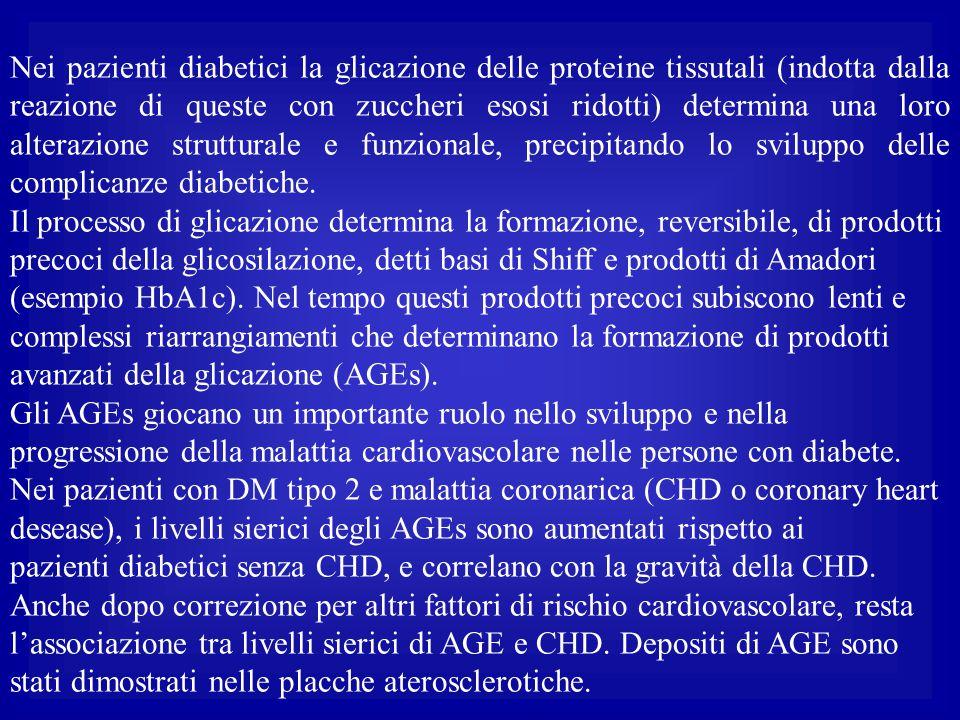 Nei pazienti diabetici la glicazione delle proteine tissutali (indotta dalla reazione di queste con zuccheri esosi ridotti) determina una loro alterazione strutturale e funzionale, precipitando lo sviluppo delle complicanze diabetiche.
