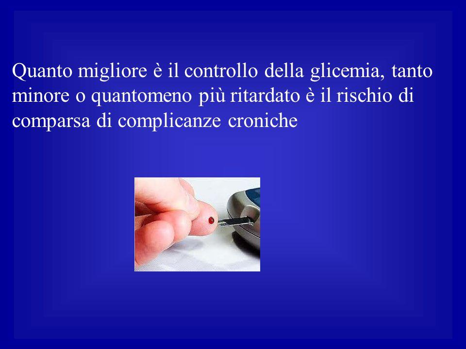 Quanto migliore è il controllo della glicemia, tanto minore o quantomeno più ritardato è il rischio di comparsa di complicanze croniche