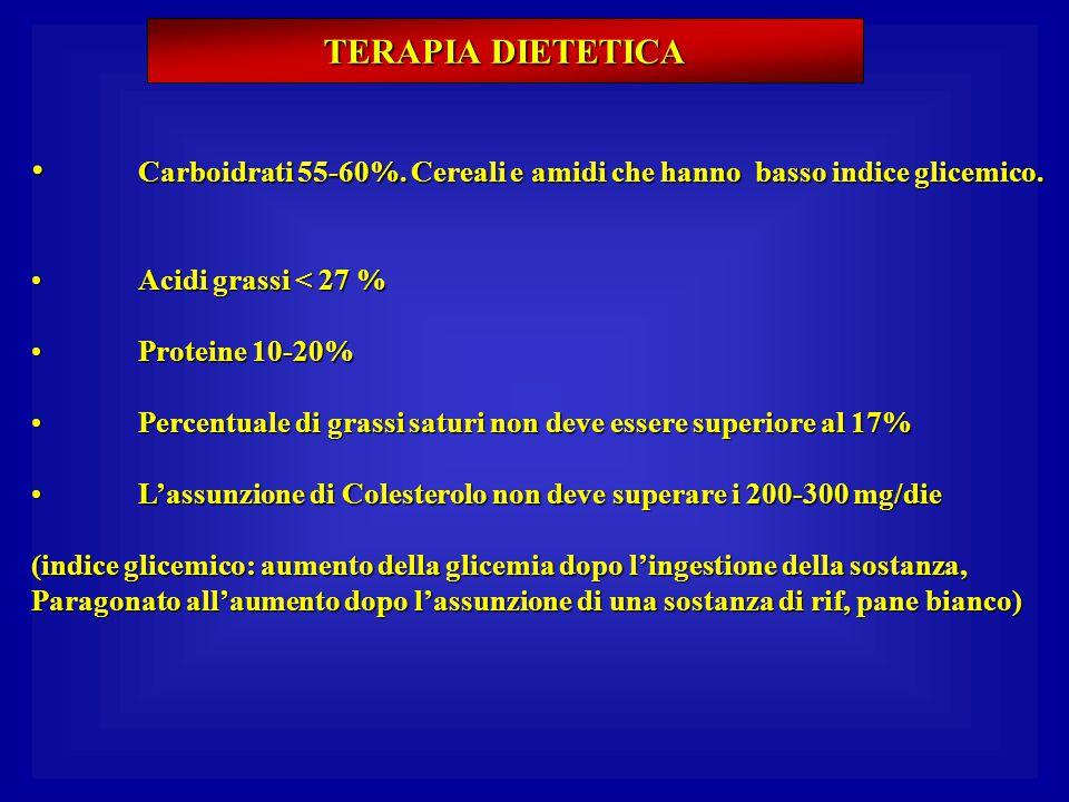 Carboidrati 55-60%. Cereali e amidi che hanno basso indice glicemico.