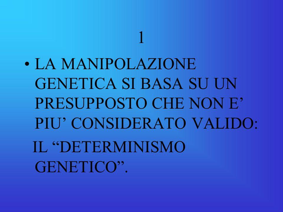 1 LA MANIPOLAZIONE GENETICA SI BASA SU UN PRESUPPOSTO CHE NON E' PIU' CONSIDERATO VALIDO: IL DETERMINISMO GENETICO .