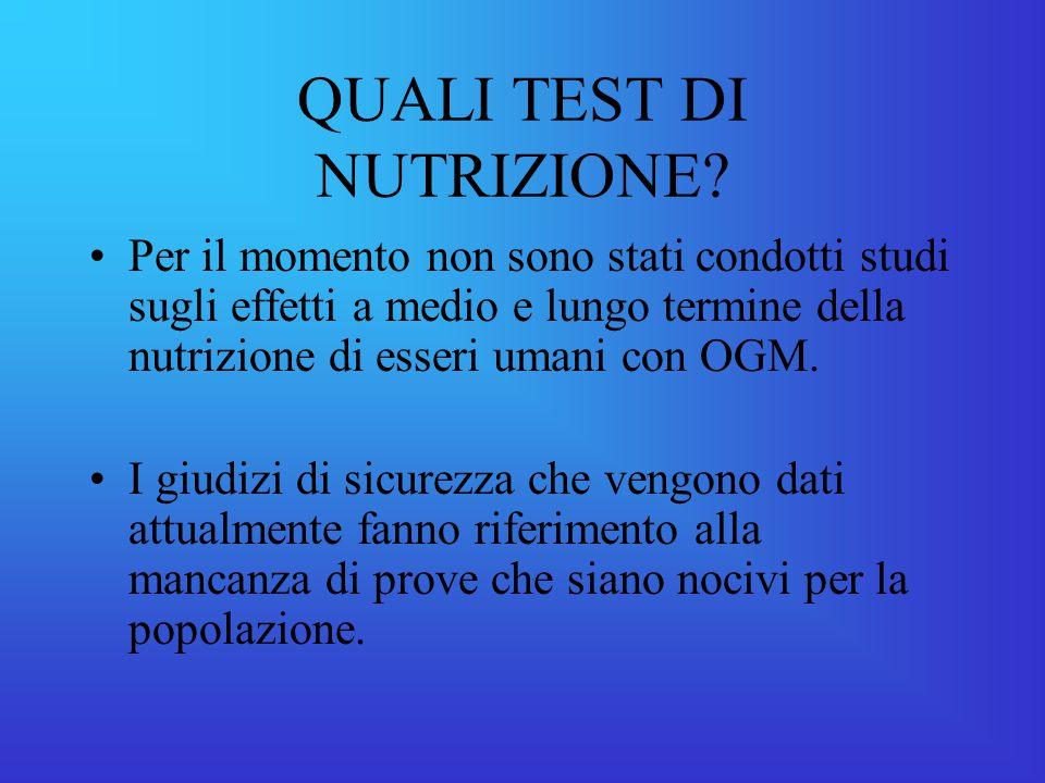 QUALI TEST DI NUTRIZIONE