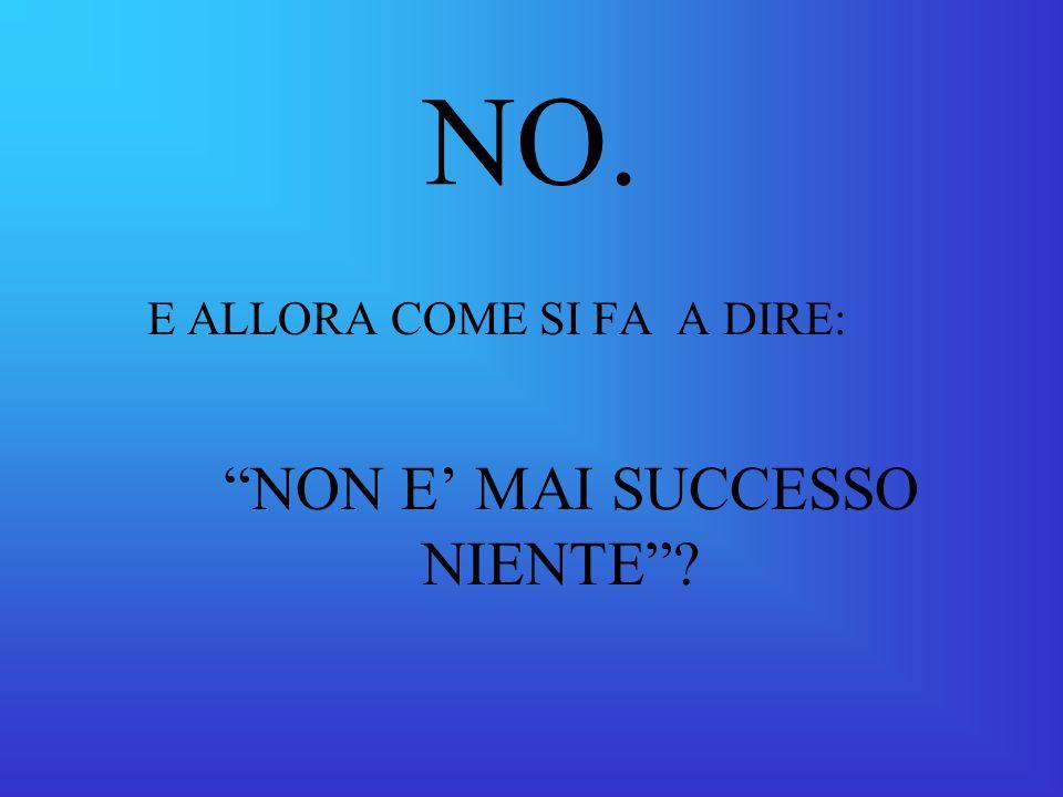 NON E' MAI SUCCESSO NIENTE
