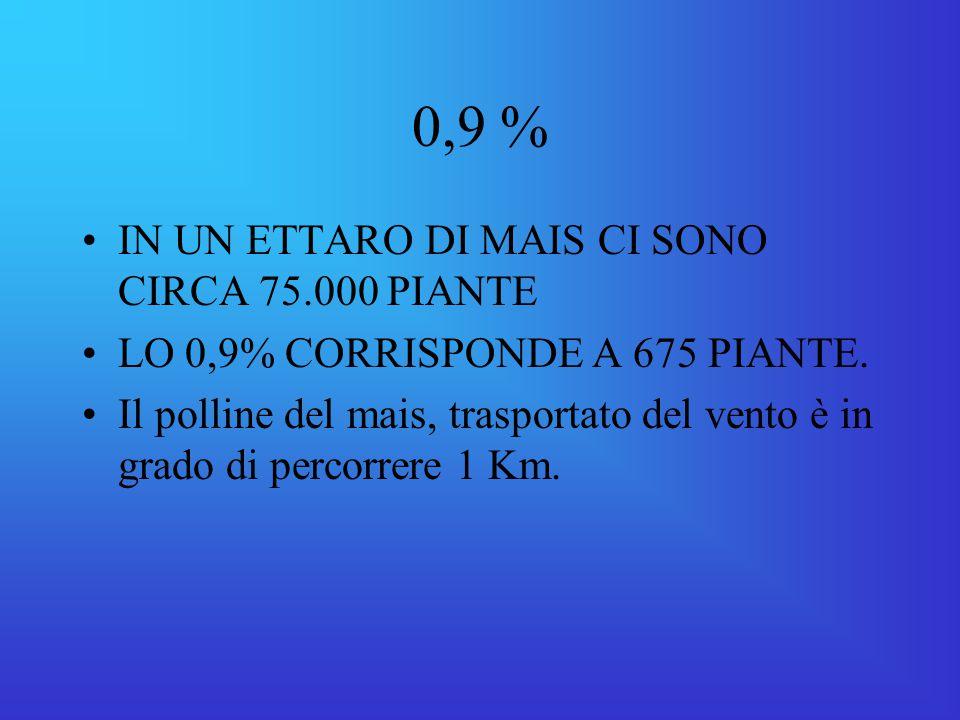 0,9 % IN UN ETTARO DI MAIS CI SONO CIRCA 75.000 PIANTE