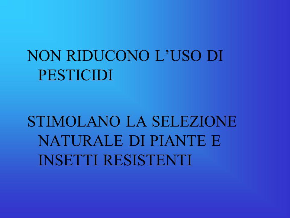 NON RIDUCONO L'USO DI PESTICIDI
