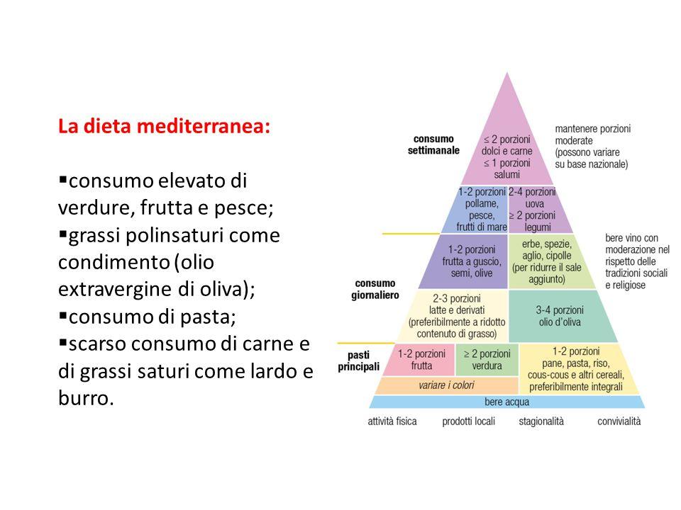 La dieta mediterranea: consumo elevato di verdure, frutta e pesce;