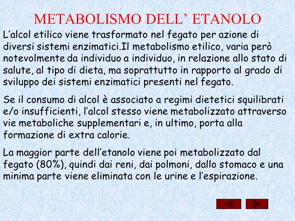 METABOLISMO DELL' ETANOLO