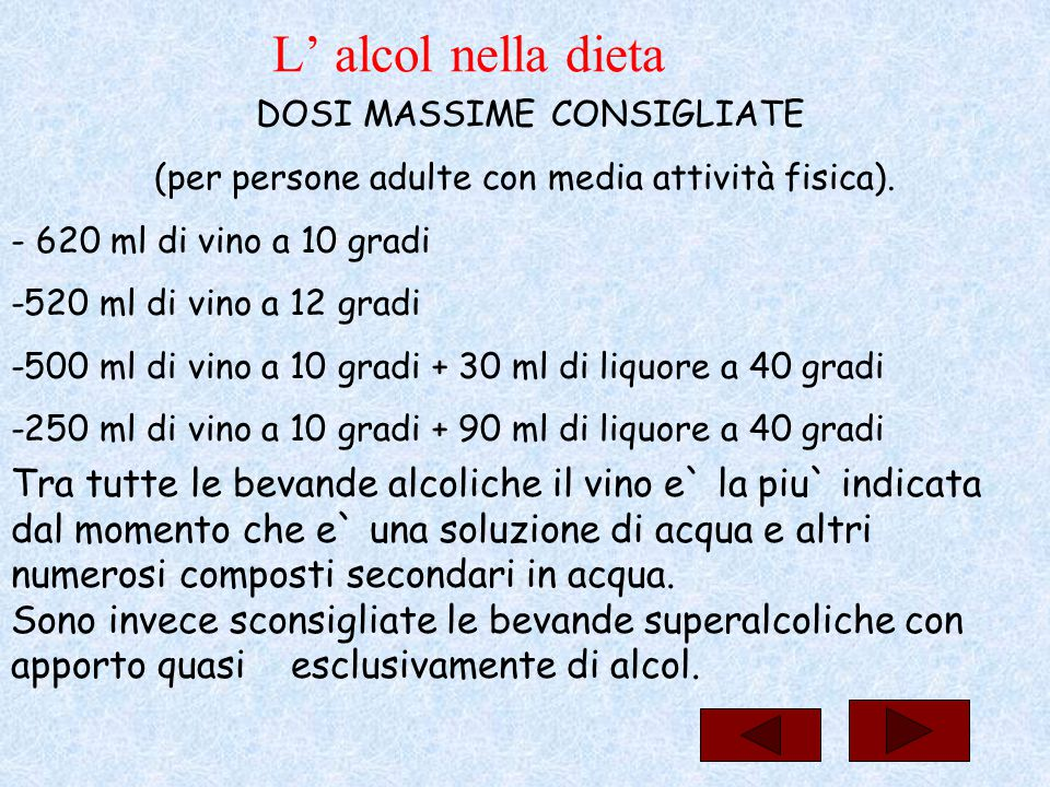 L' alcol nella dieta DOSI MASSIME CONSIGLIATE. (per persone adulte con media attività fisica). - 620 ml di vino a 10 gradi.