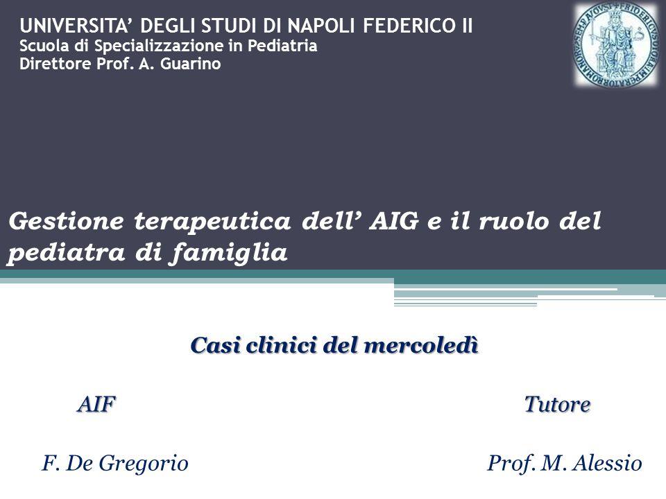 Casi clinici del mercoledì AIF Tutore F. De Gregorio Prof. M. Alessio