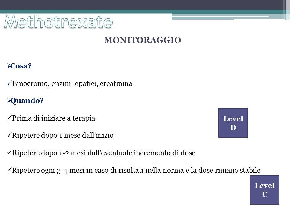 Methotrexate MONITORAGGIO Cosa Emocromo, enzimi epatici, creatinina