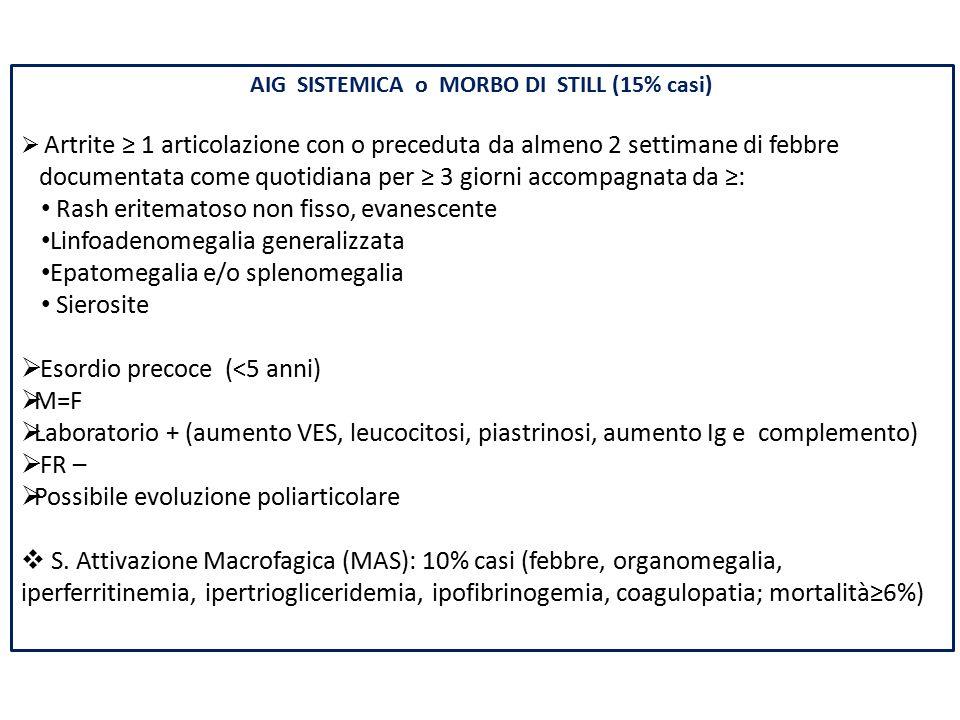 AIG SISTEMICA o MORBO DI STILL (15% casi)