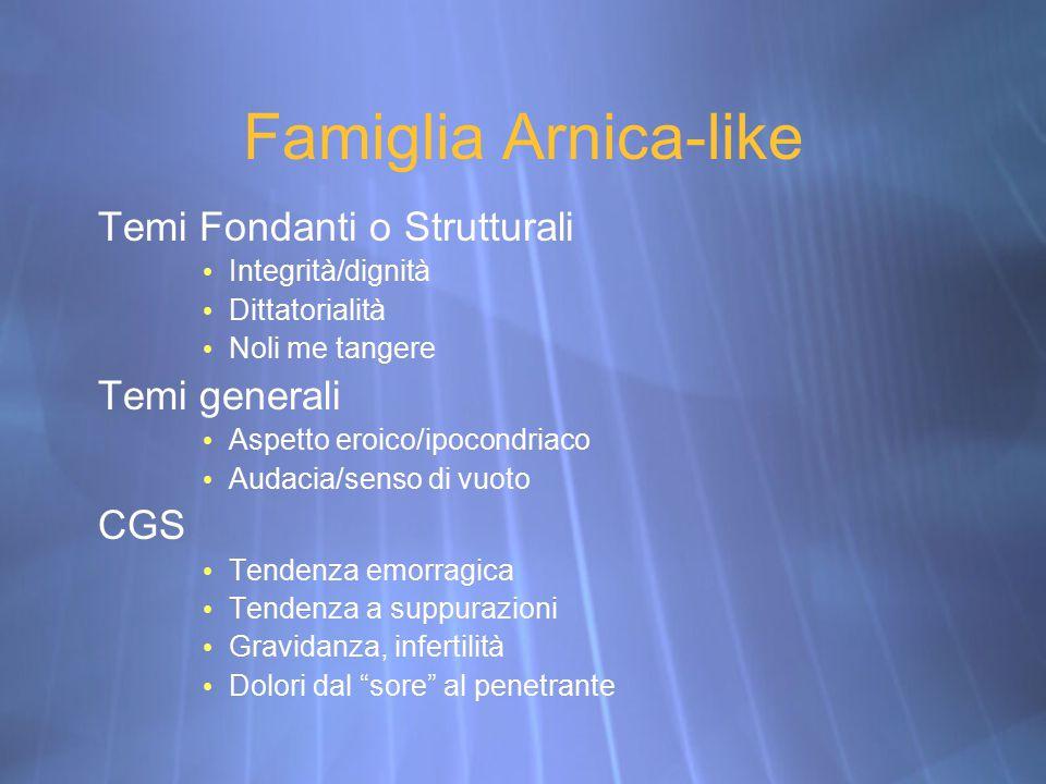 Famiglia Arnica-like Temi Fondanti o Strutturali Temi generali CGS