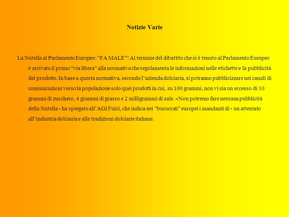 Notizie Varie