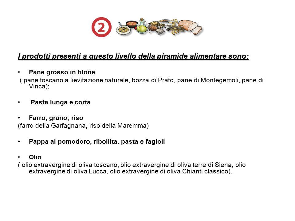 I prodotti presenti a questo livello della piramide alimentare sono: