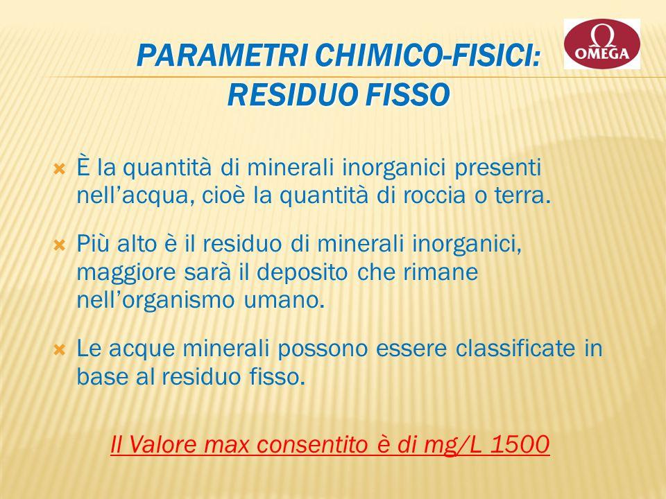 Parametri chimico-fisici: RESIDUO FISSO