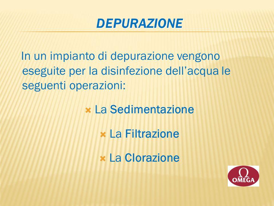 DEPURAZIONE In un impianto di depurazione vengono eseguite per la disinfezione dell'acqua le seguenti operazioni: