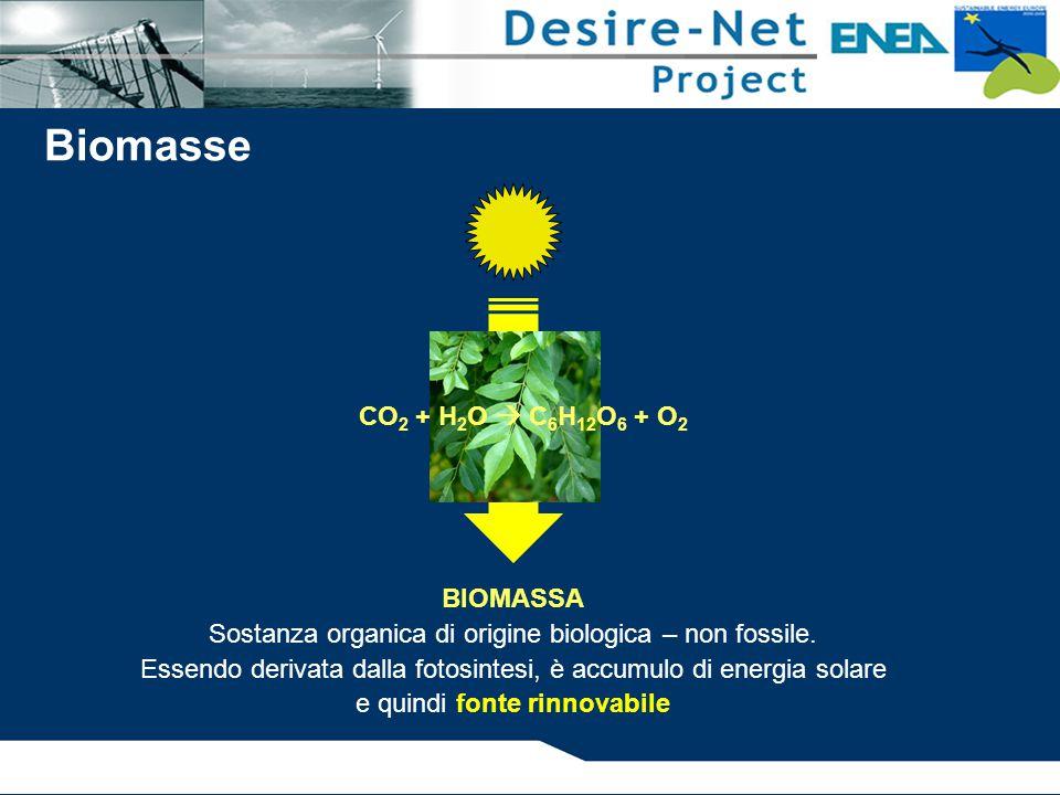 Biomasse CO2 + H2O  C6H12O6 + O2 BIOMASSA