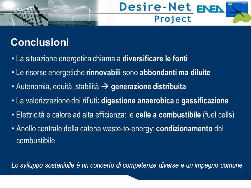 Conclusioni La situazione energetica chiama a diversificare le fonti
