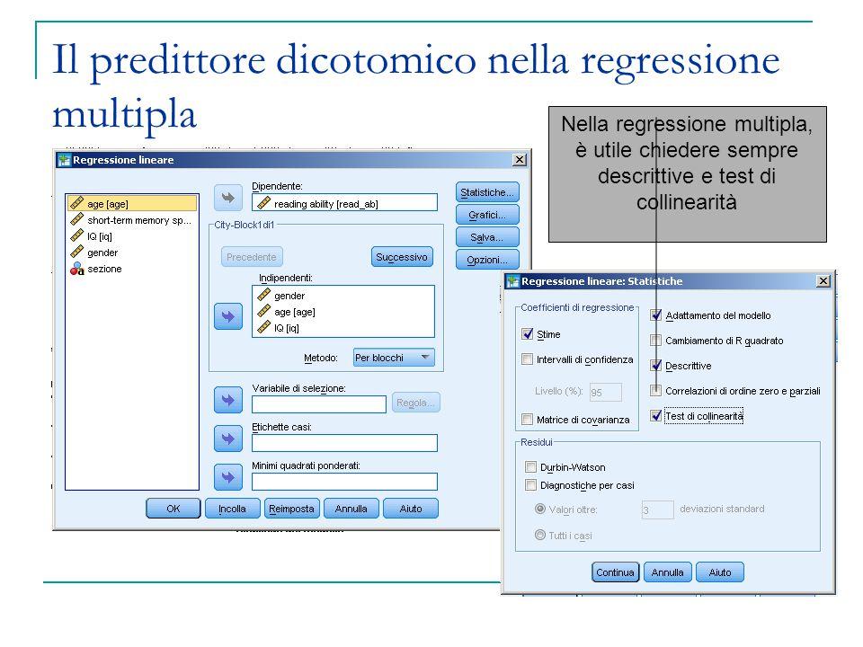 Il predittore dicotomico nella regressione multipla