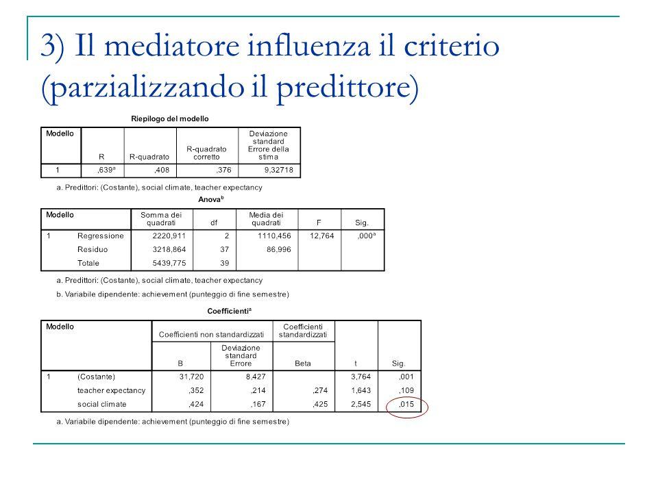 3) Il mediatore influenza il criterio (parzializzando il predittore)