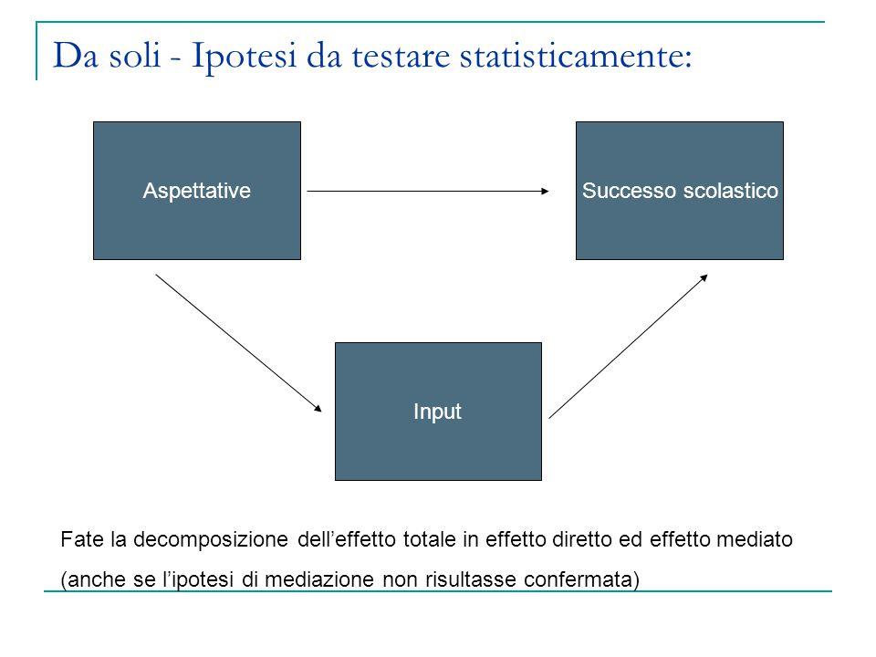 Da soli - Ipotesi da testare statisticamente: