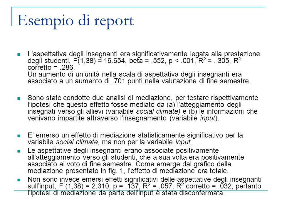 Esempio di report