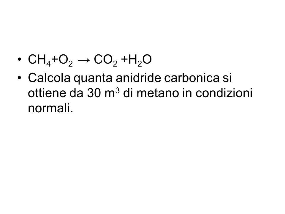 CH4+O2 → CO2 +H2O Calcola quanta anidride carbonica si ottiene da 30 m3 di metano in condizioni normali.